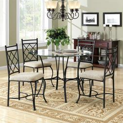 Mainstays 5-Piece Glass Top Metal Dining Set