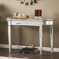 Matte Silver Mirrored Console Table For Entryway Hallway Foy