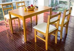 Merax 5pc Dinning Dinette 4 Person Table and Chairs Set Soil