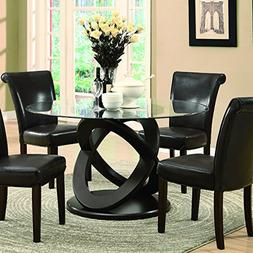 Monarch Tempered Glass Dining Table, 48-Inch Diameter, Dark