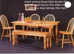 New Butcher Block Farm Dining Table & 4 Chairs & Bench