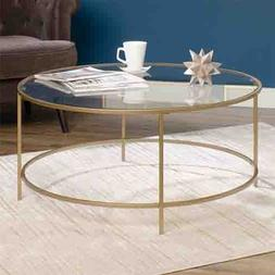 Round International Lux Coffee Table Clear Glass Top and Gol
