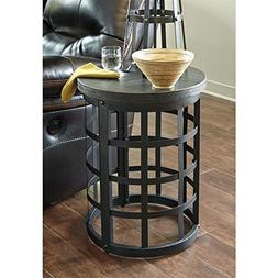 Signature Design by Ashley Marimon Round End Table, Black