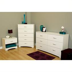 South Shore Maddox Dresser, Chest and Nightstand Set in Pure