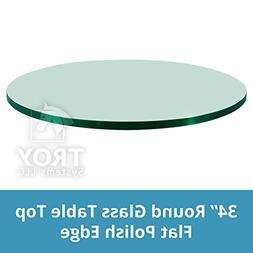 TroySys Round Glass Table Top, Flat Polish Edge, Tempered Gl