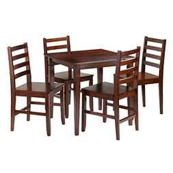 Winsome Kingsgate 5-Piece Dining Table with 4 Hamilton Ladde