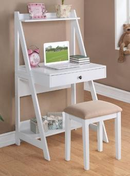 Poundex PDEX-F4684 Writing Desk and Stool w/White Color Fini