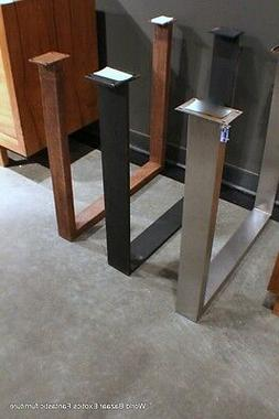 A Pair Dining Table slab legs stainless steel flat iron or R