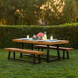 Best Choice Products 3 Piece Acacia Wood Picnic Style Outdoo