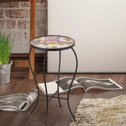 Adeco Accent Round Glass Top Side Table / Plant Stand