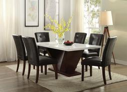 Acme Forbes 7 Piece White Marble Top Dining Room Set 72120