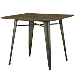 Modway Alacrity Square Wood Dining Table, Brown, 36""