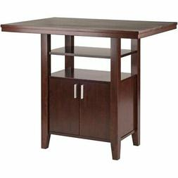 Winsome Albany Solid Wood Counter Height Dining Table in Wal