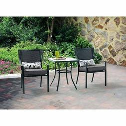 Alexandra Square 3-piece Outdoor Bistro Set, Grey with Leave