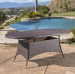 Andre Outdoor Wicker Oval Dining Table by Wade Logan