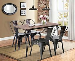 Merax Antique Style Rectangular Dining Table with Metal Legs