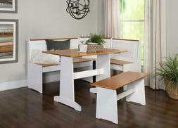 Linon Ardmore Breakfast Corner Nook Table Set Wood Dining Se