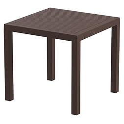 """Compamia Ares 31"""" Square Resin Patio Dining Table in Brown"""