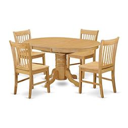 East West Furniture AVNO5-OAK-W 5 Piece Small Kitchen Table