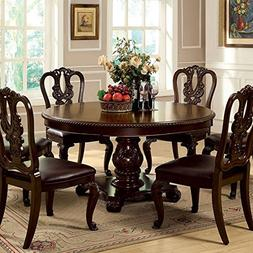 247SHOPATHOME IDF-3319RT-7PC-W Dining-Room, 7-Piece Set, Bro