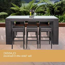 Bar Table Set With Backless Barstools 7 Piece Outdoor Wicker