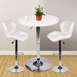 YOURLITEAMZ Bar Table Set of 3 – Adjustable Round Table an