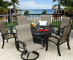 """BARBADOS SLING OUTDOOR PATIO 7PC FIRE PIT SET WITH 52"""" ROUND"""