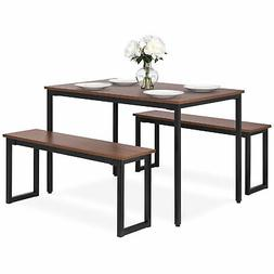 BCP 3-Piece 4ft Modern Rectangular Wood and Steel Dining Tab