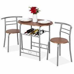 BCP 3-Piece Wooden Dining Table Set w/ 2 Chairs, 1 Table. Bo