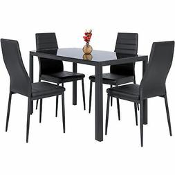 BCP 5-Piece Dining Table Set w/ Glass Top, Leather Chairs -