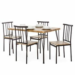 BCP 5-Piece Modern Metal and Wood Dining Table Furniture Set