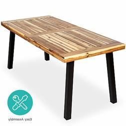 BCP 6-Person Indoor Outdoor Acacia Wood Dining Table - Brown
