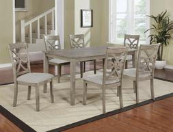 Beautiful 7PC Wood Rectangular Dining Table Set, Grey Hardwo