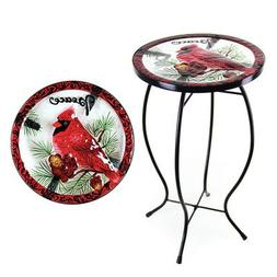 Beautifully Hand Painted Cardinal Design Glass Top Round Bis