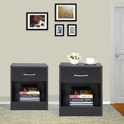 Bedroom Bedside Furniture Nightstand Set of 2 End Table Shel
