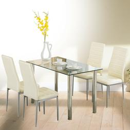 5 Pcs Dining Set Glass Table and 4 Leather Chair Dining Room