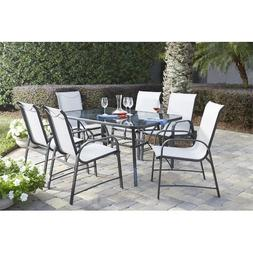 Bellbrook 7 Piece Patio Dining Set with Table in Tempered Gl