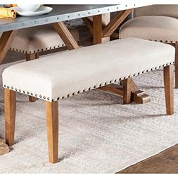 Bench Transitional Off-White Upholstered Backless Dining Ben
