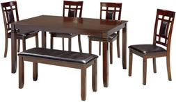 Ashley Furniture Bennox Brown Finish 6 Pc Dining Table Side