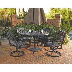 Home Styles Biscayne 48 in. Black Swivel Patio Dining Set -