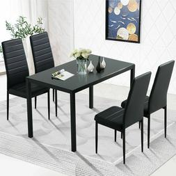 Black 5PC Kitchen Dining Table Set Glass Metal Dinette 4 Lea
