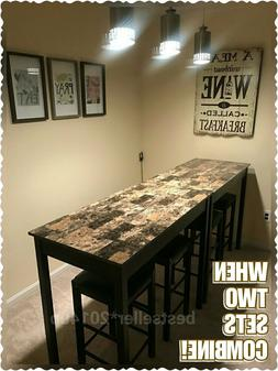 Black & Marble Counter Height Dining Table Set of 3 Piece Ba