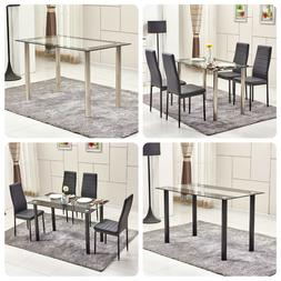 Black Dining Chairs Table Set Glass Table 4/6 Faux Leather C