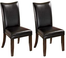 Set of 2 Black Dining Upholstered Side Chairs by Ashley Furn