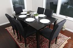 7 pc Black Linen 6 Person Table and Chairs Dining Dinette -
