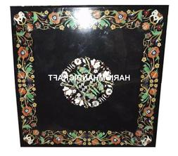 Black Marble Dining Table Top Parrot Art Marquetry Inlay & F
