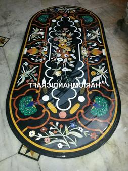 Black Marble Dining Table Tops Semi Precious Inlay Beautiful