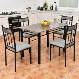 Black Metal 5 piece Dining Set 4 Chairs Faux Marble Top Tabl