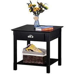 Topeakmart Black End Tables with Drawer and Bottom Storage S
