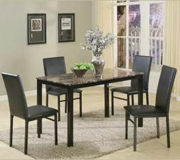 Black White Brown 5 pc Dining Table Set Faux Marble Faux Lea